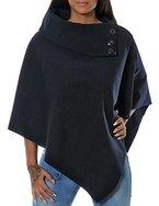 Damen Poncho mit Stehkragen (weitere Farben) No 13430, Farbe:Navy;Größe:One Size