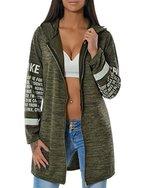 Damen Kapuzen-Pullover Sweatshirt-Jacke Hoodie Zip Mantel (weitere Farben) No 14183, Farbe:Khaki;Größe:One Size