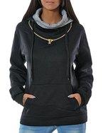 Damen Kapuzen-Pullover Sweatshirt-Jacke Hoodie (weitere Farben) No 14179, Farbe:Schwarz;Größe:44 / 2XL