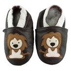 SmileBaby Premium Leder Lauflernschuhe Krabbelschuhe Babyschuhe Schwarz Löwe 12 bis 18 Monate