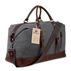 BLUBOON Weekender Vintage Reisetaschen Leder Segeltuch Herren Damen Echtes Leder Ordnung (Grau)
