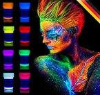 neon nights UV-Licht Bodypainting Schminke | Schwarzlicht-Körperfarbe für Body und Facepainting | Fluoreszierende Farben im Schminkset für knalligen Glow-Effekt | 8 x 20ml Leucht-Farben