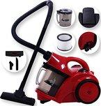 Kesser® Staubsauger Bodenstaubsauger Beutellos ✓ Hepa Filter ✓ Zyklonstaubsauger✓ 1600 Watt| Allergikerfreundlich | mit Zubehör | handlich, Farbe: Rot / Schwarz