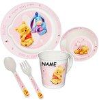 """5 tlg. Geschirrset - """" Disney Winnie the Pooh - rosa / pink """" - incl. Name - Trinktasse + hoher Teller + Müslischale / Suppenschüssel + Löffel + Gabel - Kindergeschirr Frühstücksset - Kunststoff - für Mädchen / Eßlerngeschirr - Eßlernbesteck - Puuh Ferkel - Babygeschirr - Eßlernset Plastik - Kunststoffgeschirr - Geschirr Set - Camping"""