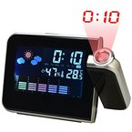 Happy Fd LED Projection Uhr LCD Digital Weather Snooze Alarm Clock Color Display Schwarz