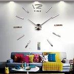 Baytter Design Wand Uhr Spiegel Wandtattoo Dekoration Zahlen XXL 3D Bürouhr für Wohnzimmer Schlafzimmer Handarbeit DIY geräuschfrei silber