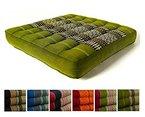 Kapok Sitzkissen 35x35x6,5cm der Marke Asia Wohnstudio, optimal als Stuhlauflage oder Meditationskissen, Bodenkissen bzw. Stuhlkissen (grün)