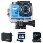 Action Cam WiFi Full HD Unterwasserkamera Digital Wasserdicht 2.0 Zoll LCD Helmkamera Mit 2 Stü. Batteries, Action Kamera für Motorrad, Fahrrad, helm, kinder, drohne, fahrrad, hunde etc