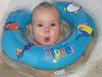 Schwimmring Flipper Schwimmreifen für den Hals Schwimmhilfe (Blau)