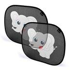 Sonnenschutz Elefant - SILUNO Sonnenblende für Auto Seitenfenster Dachfenster - Autosonnenschutz mit Saugnäpfen für Kinder Baby Erwachsene - Sonnenblenden Sonnenschutzblende Schwarz UV - mit 2 Jahren Zufriedenheitsgarantie