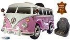 Kinderfahrzeug 12V Kinder Elektro Auto T1 Camper Samba Bulli rosa Ledersitz 2,4 GHZ Steuerung