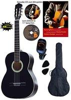 Konzertgitarren-Set, schwarz, Lern DVD, Karaoke CD, Songbook, gepolsterte Tasche, Plectren, Fichte, Stimmgerät
