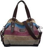 Coofit Multi-Color-Striped Canvas Damen Handtasche / Umhängetasche