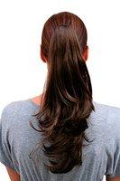 WIG ME UP ® - T400-8 Haarteil ZOPF VOLUMINÖS gewellt brünett BRAUN,Farbton 8