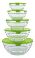 GOURMETmaxx 02973 Glasschüssel-Set | 10 Teile | Geeignet für Spülmaschine | Ineinander stapelbar | Transparent