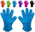 Belmalia 2x Backhandschuhe aus hitzebeständigem Silikon für Küche und Grill in blau, Set