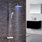 Homelody® 3- Funktion LED Duschset Mit Thermostat Duscharmatur Eckig Duschsystem mit LED Regendusche Überkopfbrause Duschpaneel Dusche bad/badzimmer