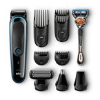 Braun Multigrooming-Kit MGK3080 9-In-1 Bartschneider, Rasierer, Barttrimmer und Bodygroomer mit Gillette Flexball, Bartstyler ohne Folgekosten, schwarz/blau