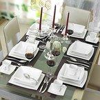Malacasa, Serie Blance, Kombiservice 30 tlg. Porzellan Geschirrset Eckig Tafelservice mit je 6 Kaffeetassen 180 ml, 6 Untertassen, 6 Dessertteller, 6 Tiefteller und 6 Flachteller CREMEWEIß