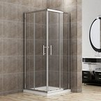 Duschkabine/Duschabtrennung 100x80cm Eckeinstieg mit Duschwanne Doppel Schiebetür Echtglas