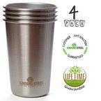 Edelstahl Tasse 16 Unzen/ 473ml (4er Pack) Premium Stapelbare Becher Metall Drink Gläser Tassen