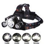 Aigi, LED-Stirnlampe, 3 CREE XM-L T6, helle Hochleistungs-Scheinwerfer, 6000 Lumen, wiederaufladbar, wasserdicht, (2 x 18650 Battery + 1 x AC Ladegerät); Outdoor-Stirnlampe für Camping Wandern Jagd Radfahren Laufen