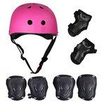 SymbolLife Skateboard / Skate Protektoren Set mit Helmet -- Skate Helmet Knie Pads Elbow Pads mit Handgelenkschoner für Skate, Skateboard, Roller Skate, BMX, Bike und anderen Extreme Sports, M Rose