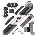 KOLO Sport 120 psi Aluminium Teleskopisches Mini Fahrradpumpe mit Rahmen Montage, ergonomischen Griff und Bonus Reparatursatz und Kugel Nadel | Kompatibel mit Presta- und Schrader Ventile