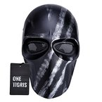 OneTigris Taktische Vollschutzmaske Softair Maske Cosplay Karneval Maske Airsoft BB gun CS Kampf Maske (Silber Schwarz)