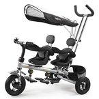 Luxus Kinderwagen Dreirad Fahrrad Doppel Sitz Kinderfahrrad fuer 1-6Jahre Kinder Baby mit Gross Spielzeugkorb (Schwarz)