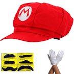 Super Mario Mütze ROT MARIO Komplett SET mit Handschuhe und Klebe-Bärte für Erwachsene und Kinder Karneval Fasching Verkleidung Kostüm Mützen Hut Cap Herren Damen Kappe