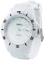 Crell SOLAR-betriebene Quarz-Uhr mit Silikonarmband, strahlend-weiß