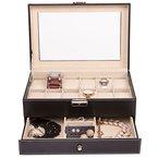 TRESKO® Schmuckkasten Schmuckkästchen Uhrenbox Uhrenschatulle Uhrenkoffer für die Reise aus Kunstleder in Schwarz mit 12 Uhrenfächer + Schmuckfach, Ohrring-Fach und Ring-Streckkissen