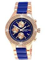 Designer Damenuhr Exclusive Damen Strass Uhr in Chronograph Optik Blau Rose Gold inkl.Uhrenbox