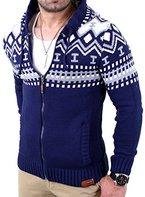 Reslad Herren Grobstrick Norweger Winter Strickjacke mit Kapuze RS-3104 Blau M