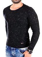 Reslad Strickpullover Rundhals Herren-Pullover melierter Pullover RS-3105 Schwarz L