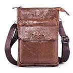 Hengying Echt Leder Kleine Schultertasche Herrentasche Messenger Tasche mit Viele Fächer für iPad Mini Reise Alltag Urlaub (Braun)