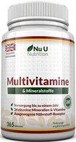 Multivitamine & Mineralien - 365 Tabletten von Nu U Nutrition (Versorgung bis zu einem Jahr) - 24 Vitamine und Mineralien für Frauen und Männer, Geeignet für Vegetarier