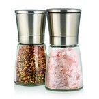 Elegante Salz und Pfeffermühle mit Ständer, 2- teiliges Salz und Pfeffermühlen Set, Gewürzmühle aus Edelstahl und hübschen Glasbehältern , einstellbares Keramikmahlwerk für Gewürze, Salz und Chilli