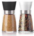 PrimeKitchen Salz- und Pfeffermühle Set   2x qualitative Gewürzmühle   leicht einstellbares Keramikmahlwerk   echter Blickfang Küche   1x Schwarz sowie 1x Weiß
