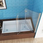 100 x 140 cm Badewannen 2 tlg. Faltwand Aufsatz 180° Duschwand Duschabtrennung NANO Glas