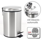 bremermann® Treteimer, mit Absenk-Automatik, Anti-Fingerabdruck, 3 L, matt, 6809