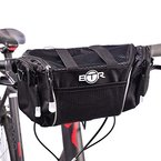 BTR S-Fahrradtasche zur Befestigung am Lenker, schwarz, mit abnehmbaren Schultergurt