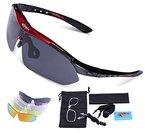 Sport Sonnenbrille - Carfia Unisex Polarisierte Sonnenbrille UV400 Outdoor Sportbrille Radbrille Ski-Sonnenbrille mit 5 Wechselbar Gläser für Skifahren Golf Radfahren Fahren Laufen Angeln - TR90 Unzerbrechliche Rahmen