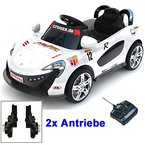 Roadster mit 2x Motoren mp3 LED Elektro Kinderauto Kinder Auto Elektroauto Elektrofahrzeug (weiss)