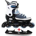 Cox Swain Sneak Kinder Inline Skates & Kinder Schlittschuh 2 in 1 - größenverstellbar ABEC5, Farbe: blue, Größe: M (37-40)