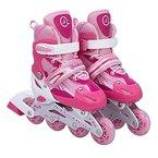 Kinderinliner Inlineskates - Größenverstellbar über vier Größen - Leuchtende Frontrollen - Pink - Gr. L (39-42)