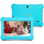 Alldaymall A88SK 7 Zoll Kinder Tablet PC Quad Core, Android 4.4 KitKat, 1GB RAM, 8GB NAND Flash mit Doppel Kamera und Wifi, Tablet für Kids mit Spezialangebot, HD 1024x600, Mit Blau Kindgerechte Schutzhülle