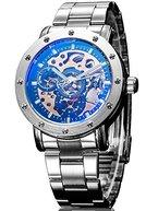 Alienwork IK mechanische Automatik Armbanduhr Skelett Automatikuhr Uhr schwarz silber Metall 98530G-03