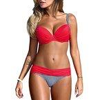 DELEY Frauen Push Up Sommer Strand Süßigkeit Farbe Triangel Brasilianische Bikini Beachwear Bademode Rot XL